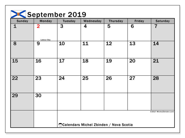 Calendar September 2019, with the holidays of Nova Scotia. Free calendar to print.