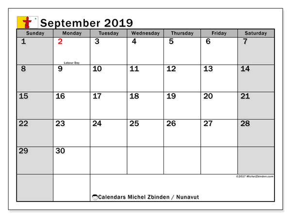 Calendar September 2019, with the holidays of Nunavut. Free planner to print.