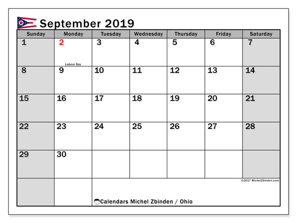 September 2019 Calendar, with the holidays of Ohio. Free printable calendar with public holidays.