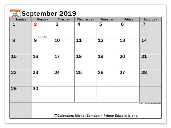 September 2019 Calendar, with the holidays of Prince Edward Island. Holidays calendar to print free.