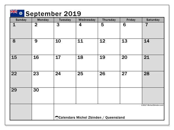 Calendar September 2019, with the holidays of Queensland. Free printable monthly calendar.
