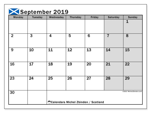 September 2019 Calendar, with the holidays of Scotland. Holidays calendar to print free.
