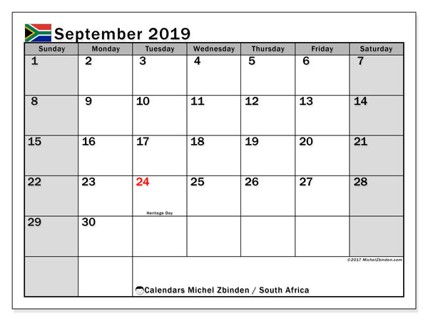 photograph regarding September Printable Calendar named September 2019 Calendar, South Africa - Michel Zbinden EN