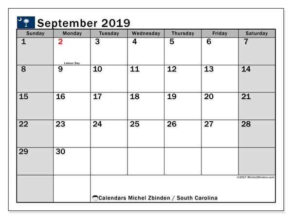 September 2019 Calendar, with the holidays of South Carolina. Free printable calendar with public holidays.