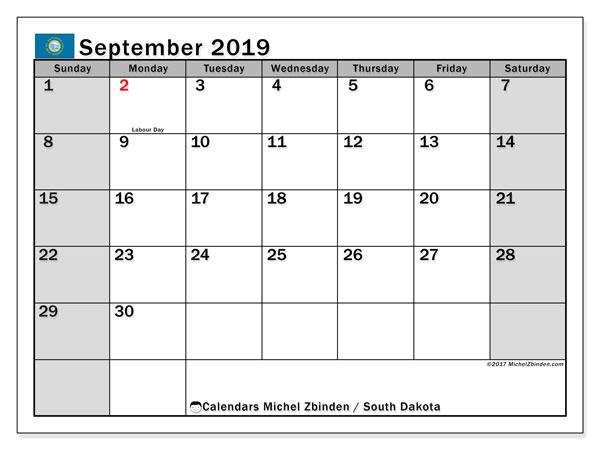 September 2019 Calendar, with the holidays of South Dakota. Free printable calendar with public holidays.