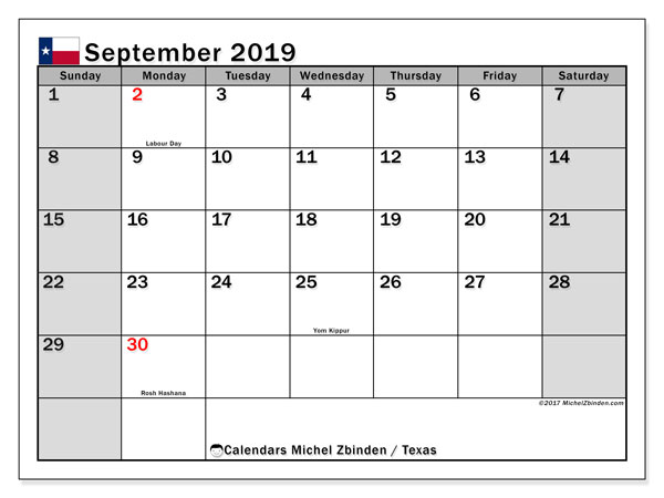 September 2019 Calendar, with the holidays of Texas. Free printable calendar with public holidays.