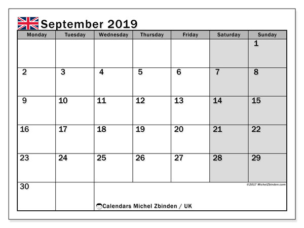 Calendar September 2019, with the holidays of the UK. Monthly calendar to print free.