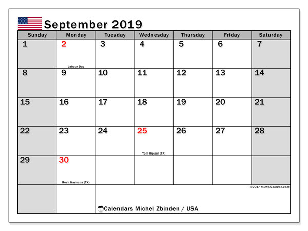 September 2019 Calendar, with the holidays of the USA. Holidays calendar to print free.