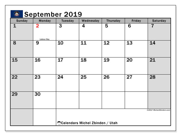 September 2019 Calendar, with the holidays of Utah. Free printable calendar with public holidays.