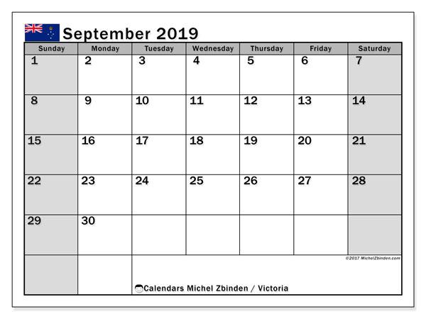 Calendar September 2019, with the holidays of Victoria. Free calendar to print.