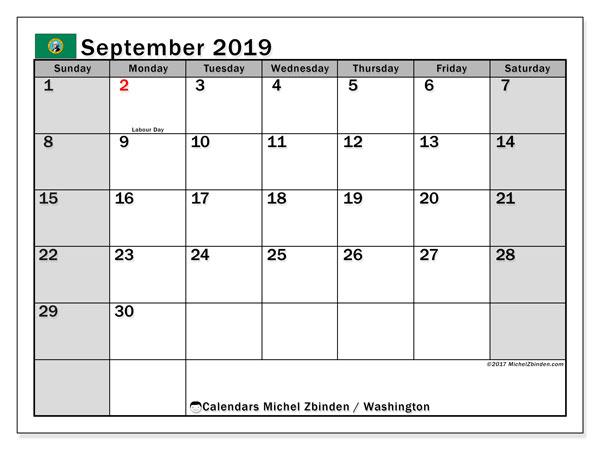 September 2019 Calendar, with the holidays of Washington. Holidays calendar to print free.