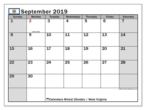September 2019 Calendar, with the holidays of West Virginia. Holidays calendar to print free.
