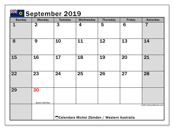 Calendar September 2019, with the holidays of Western Australia. Free printable bullet journal.