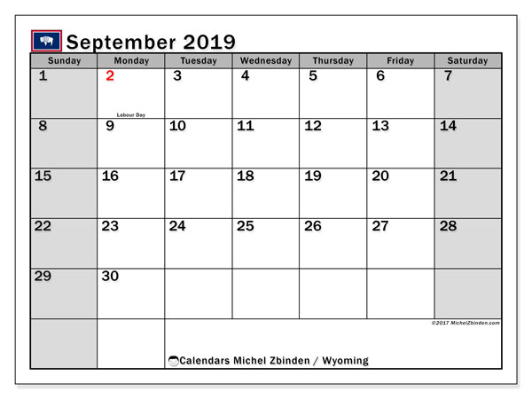 September 2019 Calendar, with the holidays of Wyoming. Holidays calendar to print free.