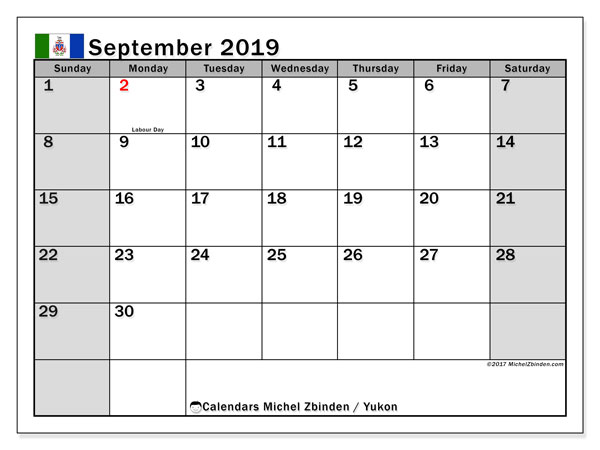 Calendar September 2019, with the holidays of Yukon. Free calendar to print.