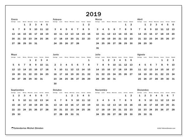 Calendario 2019 (32DS). Calendario anual para imprimir gratis.