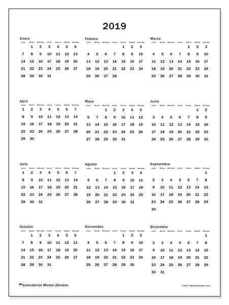 Calendario 2019, 33LD. Calendario anual para imprimir gratis.