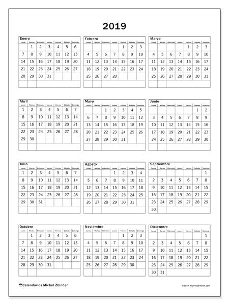 Calendario 2019, 36LD. Planificación para imprimir gratis.