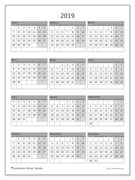Calendario 2019 (37LD). Calendario para imprimir gratis.