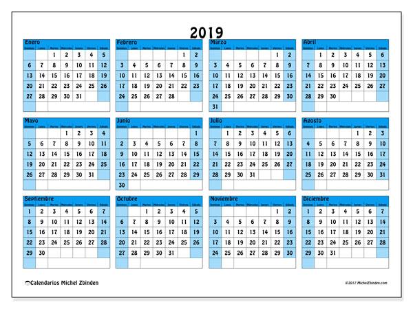 Calendario 2019, 39DS. Almanaque para imprimir gratis.