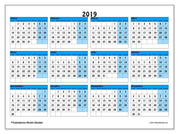 Calendario Colombia 2019 Para Imprimir.Calendario 2019 39ld Michel Zbinden Es