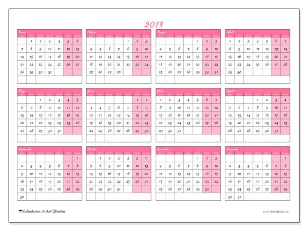 Calendario 2019, 41LD. Calendario gratuito para imprimir.