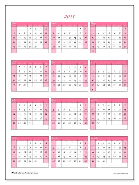 Calendario 2019 (42DS). Calendario para el año para imprimir gratis.