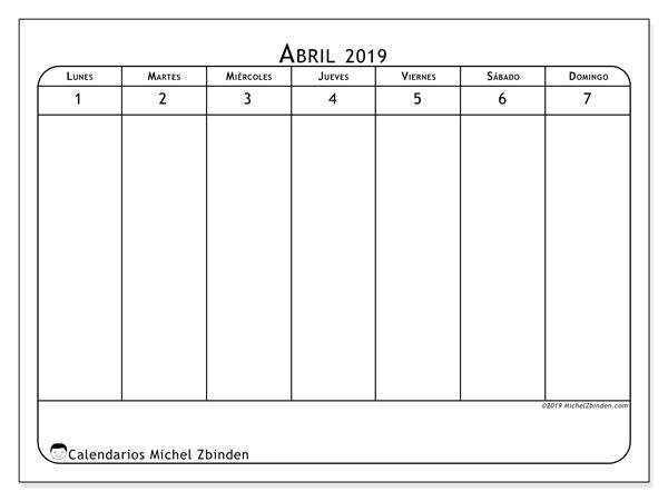 Calendario 2019, 43-14LD. Almanaque para imprimir gratis.