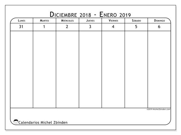 Calendario 2019, 43-1LD. Almanaque para imprimir gratis.