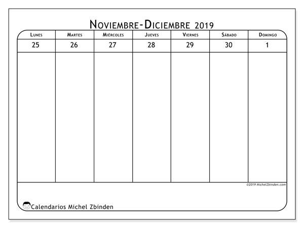 Calendario 2019, 43-48LD. Calendario para el mes para imprimir gratis.