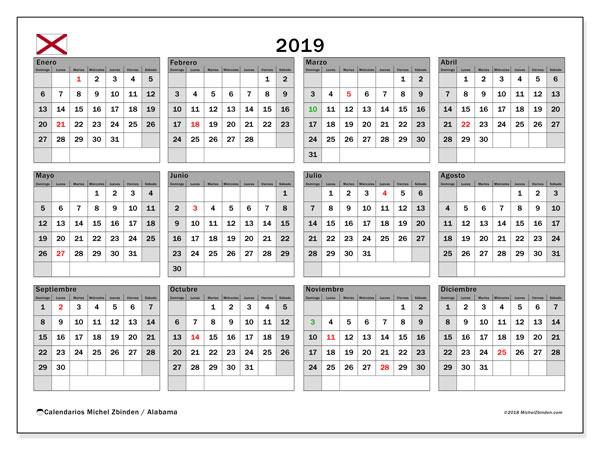 Calendario 2019 - Alabama. Calendario para imprimir: fiestas oficiales y días feriados.