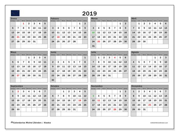 Calendario 2019, con los días feriados en Alaska. Planificación para imprimir gratis.