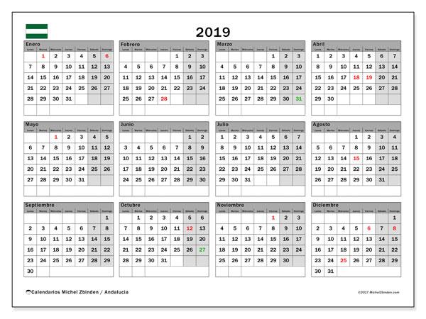 Calendario 2019 - Andalucia. Calendario para imprimir: fiestas oficiales y días feriados.