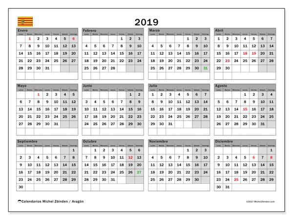 Calendario 2019, con los días festivos de Aragón. Almanaque para imprimir gratis.