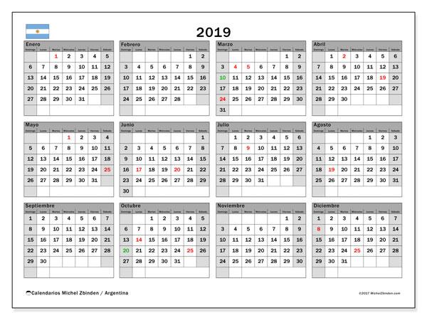 Calendario 2019 Argentina Michel Zbinden Es