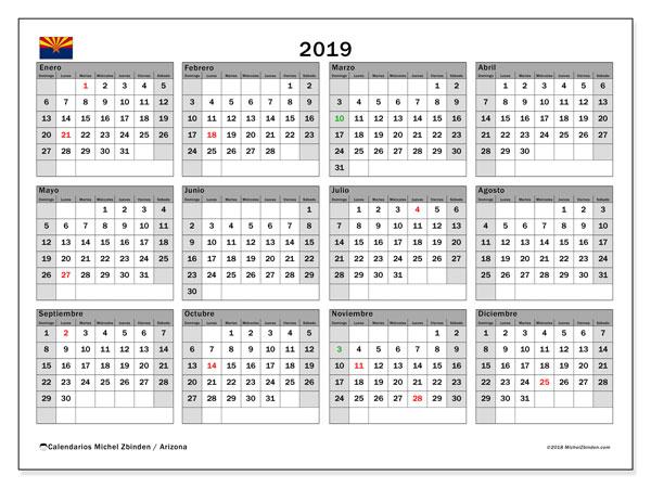 Calendario 2019, con días feriados en Arizona. Calendario vacaciones y festivos para imprimir gratis.