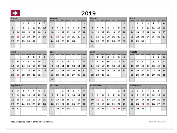 Calendario 2019, con los días feriados de Arkansas. Calendario imprimible gratis.