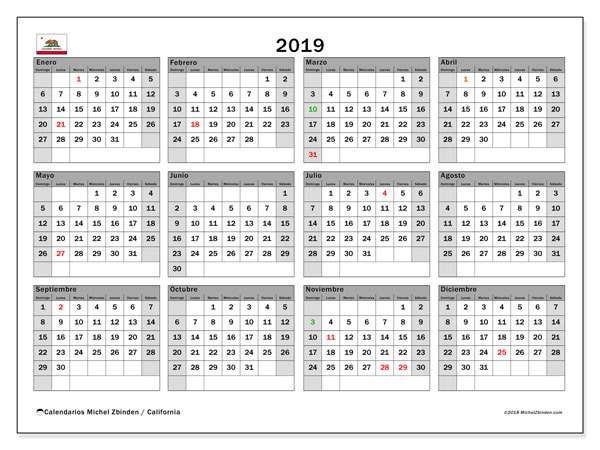 Calendario 2019, con los días feriados en California. Calendario gratuito para imprimir.