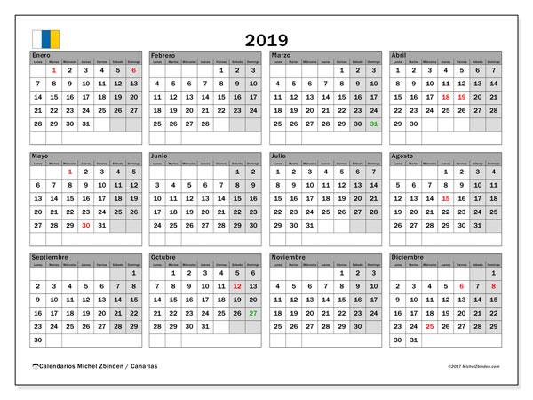 Calendario 2019, con los días festivos de las Islas Canarias. Calendario para imprimir gratis.