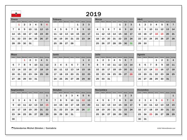 Calendario 2019, con los días festivos de Cantabria. Calendario gratuito para imprimir.