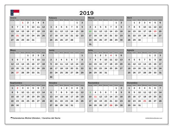 Calendario 2019, con los días feriados en Carolina del Norte. Calendario para el mes para imprimir gratis.