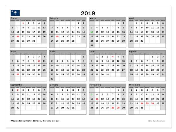 Calendario 2019 - Carolina del Sur. Calendario para imprimir: fiestas oficiales y días feriados.