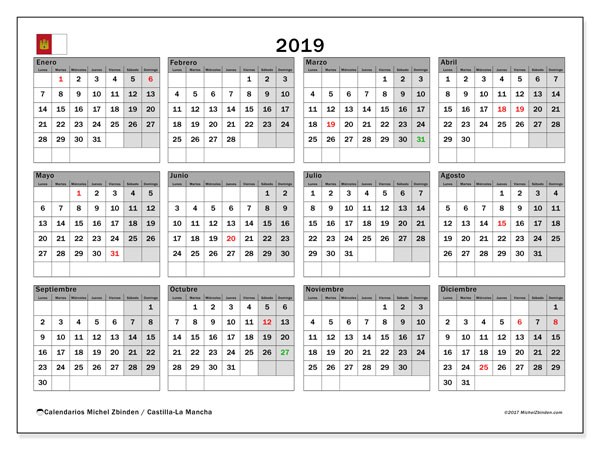Calendario 2019, con los días festivos de Castilla-La Mancha. Calendario para imprimir gratis.