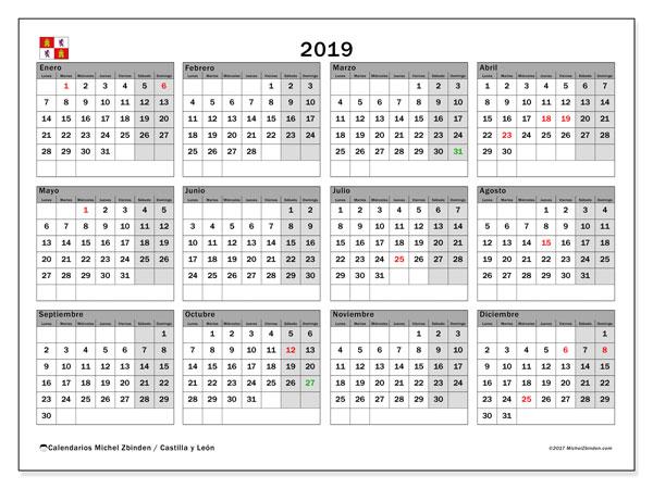 Calendario 2019 Castilla Y Leon.Calendario 2019 Castilla Y Leon Espana Michel Zbinden Es