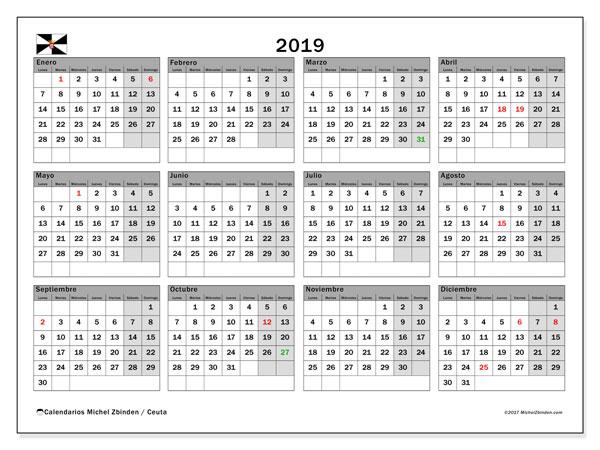 Calendario 2019, con los días festivos de Ceuta. Calendario para el mes para imprimir gratis.