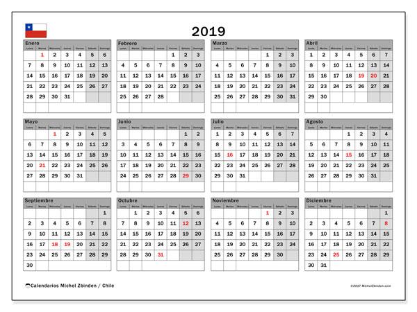 Calendario 2019, con días feriados en Chile. Calendario vacaciones y festivos para imprimir gratis.