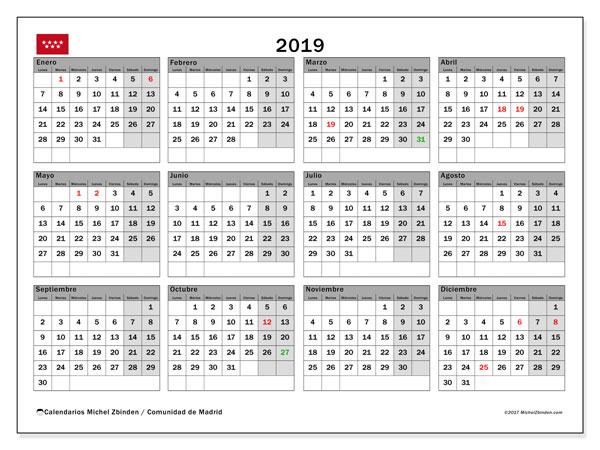 Calendario 2019, con los días festivos de la Comunidad de Madrid. Calendario imprimible gratis.