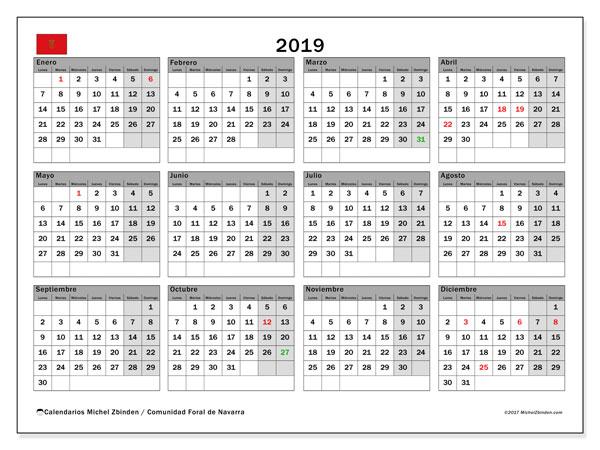 Calendario 2019 - Comunidad Foral de Navarra. Calendario para imprimir: fiestas oficiales.