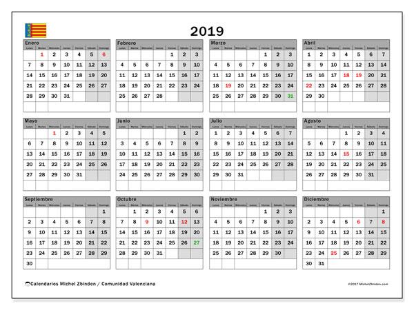Calendario 2019, con los días festivos de la Comunidad Valenciana. Calendario mensual para imprimir gratis.