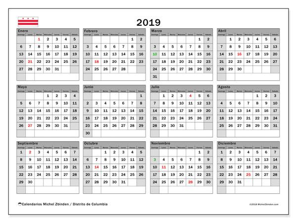 Calendario 2019 - Distrito de Columbia. Calendario para imprimir: fiestas oficiales.